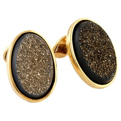 Gold Drusy Onyx and Yellow Gold