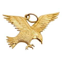 Gold Eagle Pendant, 14 Karat Gold, Charm, USA, America, Patriotic, Bald Eagle