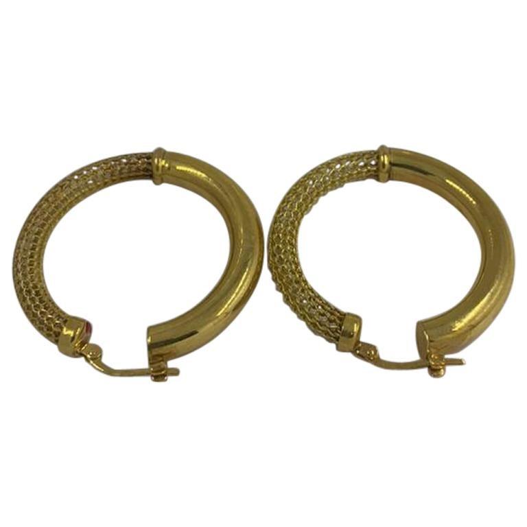 Gold Earrings 14 Karat For Sale