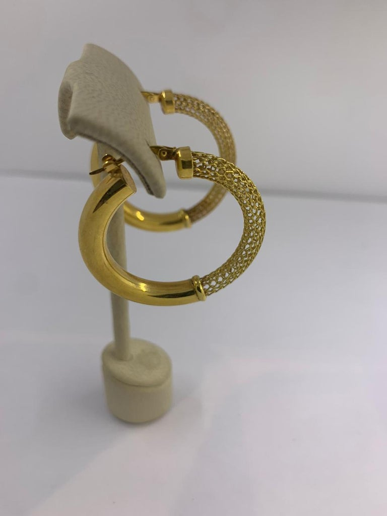 Artisan Gold Earrings 14 Karat For Sale
