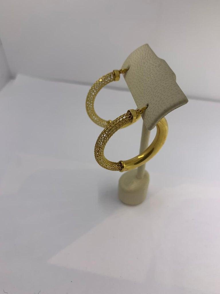 Gold Earrings 14Kt Hoop Earrings Half Mesh and Half Plain  12-10417