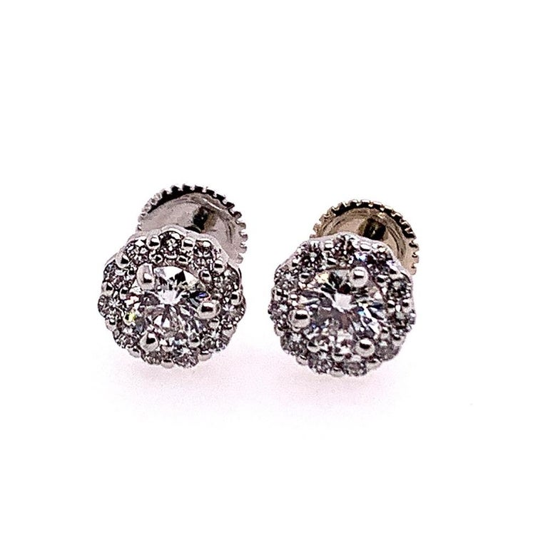 Round Cut Gold Earrings Natural 0.77 Carat Round Brilliant Colorless Diamonds VS Gem Stone For Sale