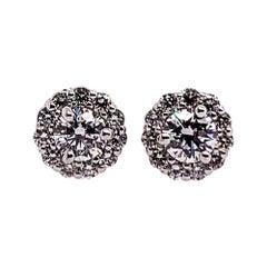 Gold Earrings Natural 0.77 Carat Round Brilliant Colorless Diamonds VS Gem Stone