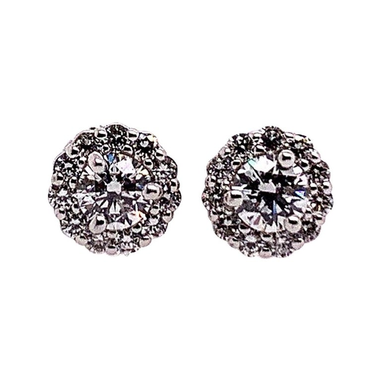 Gold Earrings Natural 0.77 Carat Round Brilliant Colorless Diamonds VS Gem Stone For Sale