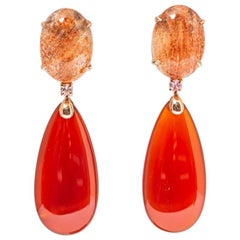 Gold Earrings Sun's Stone Tourmaline Agathe