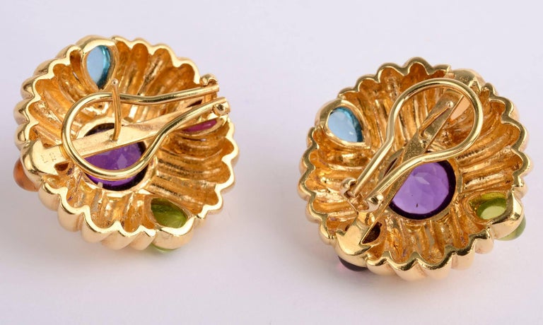 Modern Gold Earrings with Amethyst and Gemstones For Sale