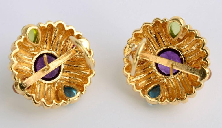 Gold Earrings with Amethyst and Gemstones In Excellent Condition For Sale In Darnestown, MD