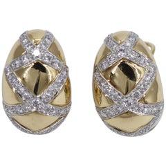 "Gold Earrings with Diamond ""X"" Motifs"