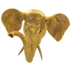 Gold Elephant Pin, Ruby Eyes and Made of 18 Karat Yellow Gold, Fur Clip Back