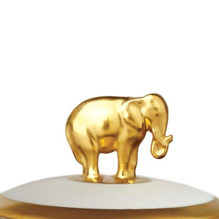 Hand-Crafted Gold Elephant White Candle Box For Sale