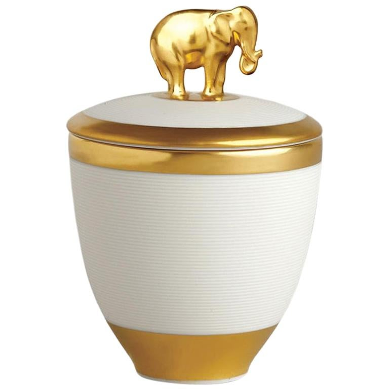 Gold Elephant White Candle Box For Sale
