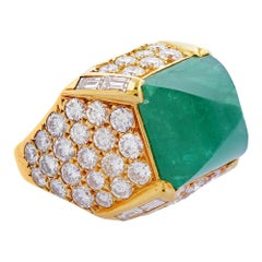 Gold Emerald and Diamond Ring by O.J. Perrin