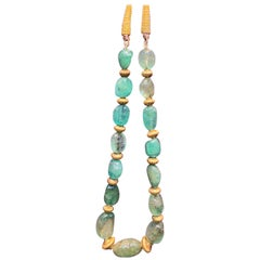 Gold Emerald Bead Indian Necklace