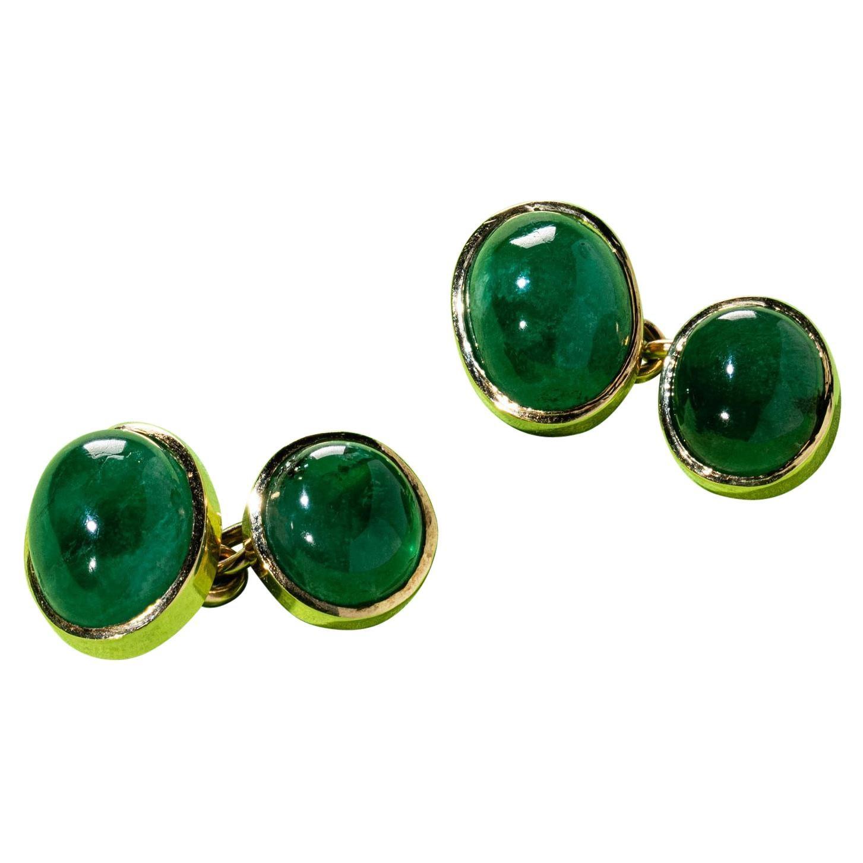 Gold Emerald Cabochon Cufflinks Early 20th Century