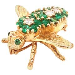 Gold Emerald & Diamond Bee Pin