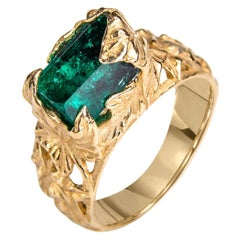 Emerald Ring Gold Crystal Colombian Unisex Christmas Ivy Ring Engagement Modern