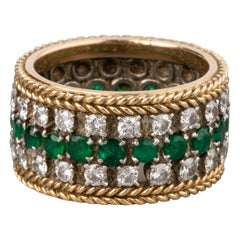 Gold Emeralds and 2 Carat Diamonds Ring