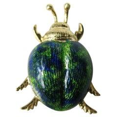 Gold Enamel Beetle Bug Pendant Blue Green
