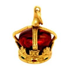 Gold Enamel Crown Charm