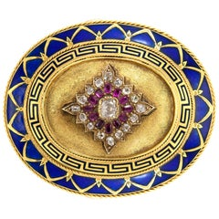 Gold, Enamel, Diamond and Ruby Brooch