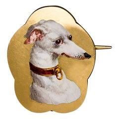 Gold Enamel Greyhound Dog Brooch, France