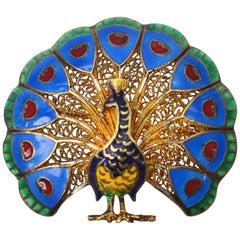Gold Enamel Peacock Pin Brooch