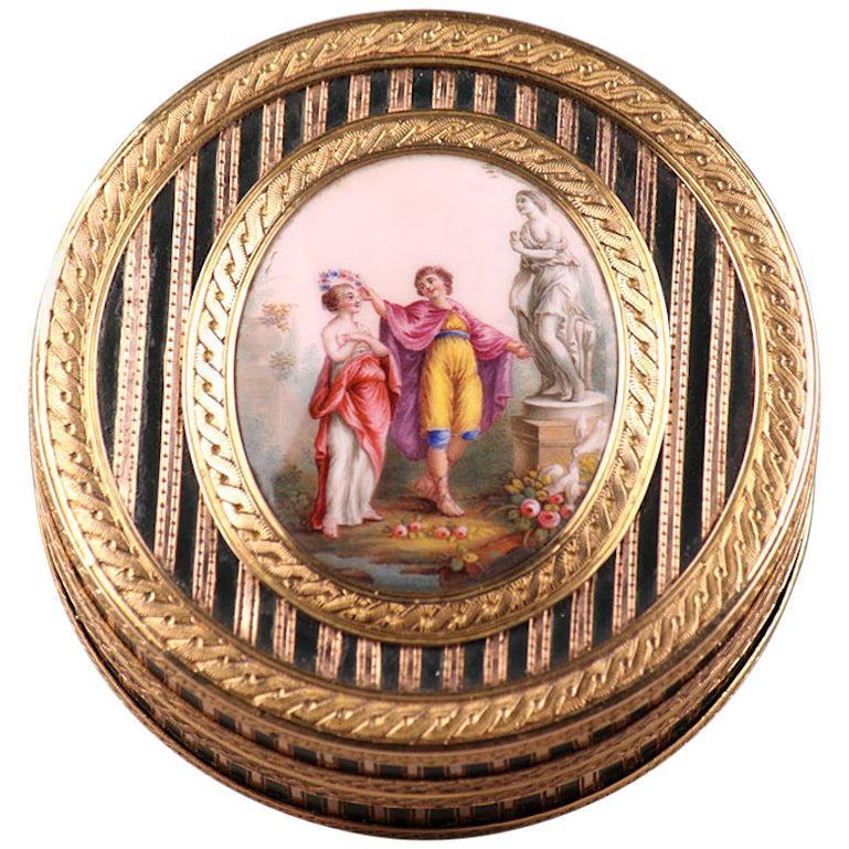 Gold, Enamel, Tortoiseshell and Lacquer Box, Louis XV Period
