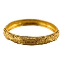 22k Gold Engraved Bangle Bracelet