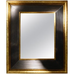 Gold Engraved Brown Border Three Dimensional Framed Mirror, France, 19th Century