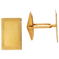 Gold Engraving Plate Cufflinks, Men's Cufflinks with Rectangle 14k Gold Plate