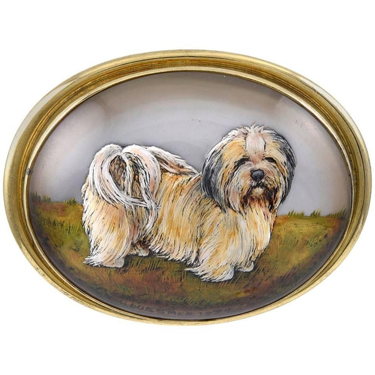 Gold Essex Crystal and Mother-of-Pearl Dog Pendant For Sale