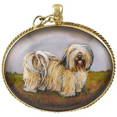 Gold Essex Crystal Dog Pendant