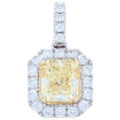 Gold Fancy Light Yellow Diamond Halo Pendant, 14 Karat Radiant Cut 1.30 Carat