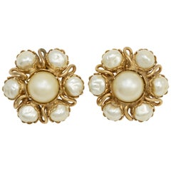 Gold Fashion Clip On Earrings, Faux Pearl Cluster, Retro Late 1900s