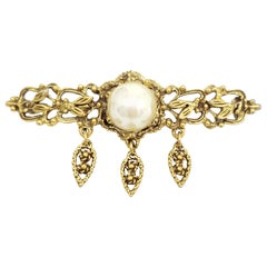Gold Faux Pearl Floral Pin Brooch, Victorian Style, Circa 1950s
