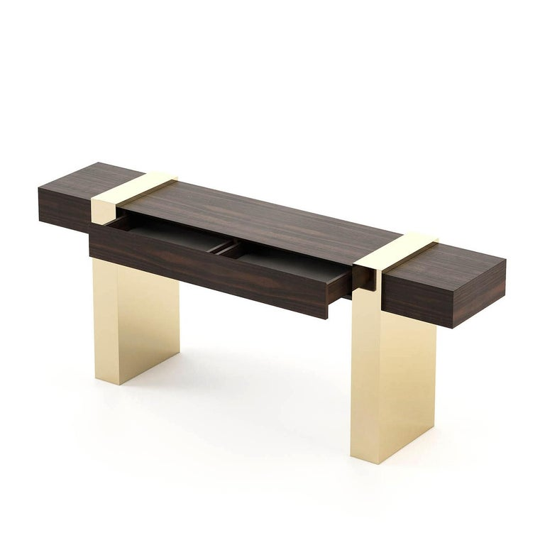 Hand-Crafted Gold Feet Console Table For Sale