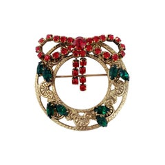 Gold Festive Holiday Wreath Round Pin Brooch, Green and Red Crystals