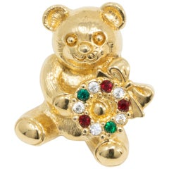 Gold Festive Teddy Bear and Wreath Pin, Red White and Green Crystals