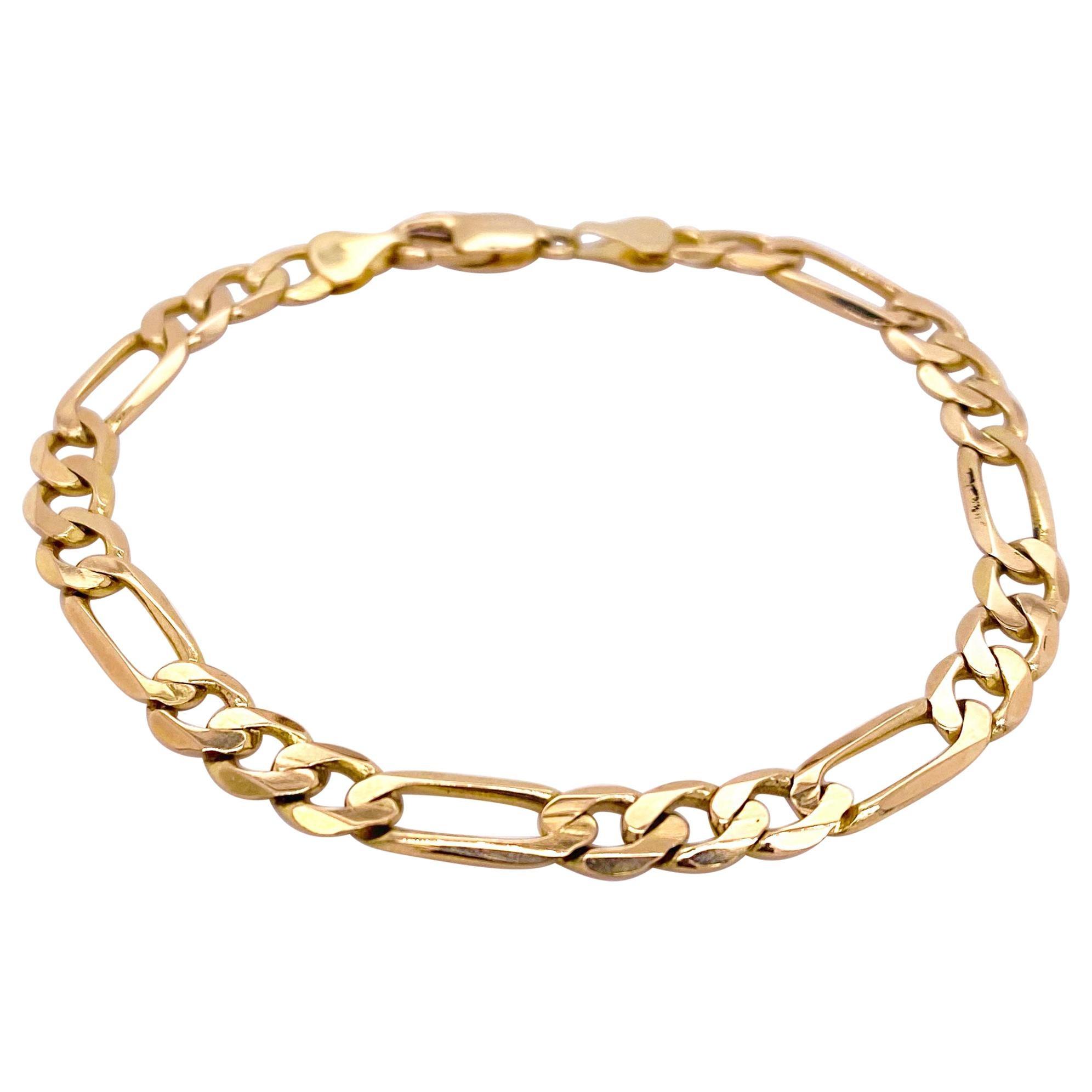 Gold Figaro Bracelet, 14 Karat Yellow Gold Charm Bracelet