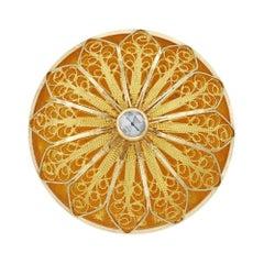 Gold Filigree and Diamond Brooch