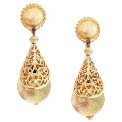"""Gold Filigree """"Bolero"""" Statement Earrings By Monet, 1960s"""