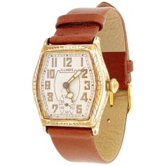 Gold Filled Art Deco Watch with Leather Strap by Illinois, 1920s