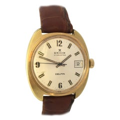 Gold Filled Vintage 1970s Edox Hydrostar Delfin Mechanical Watch