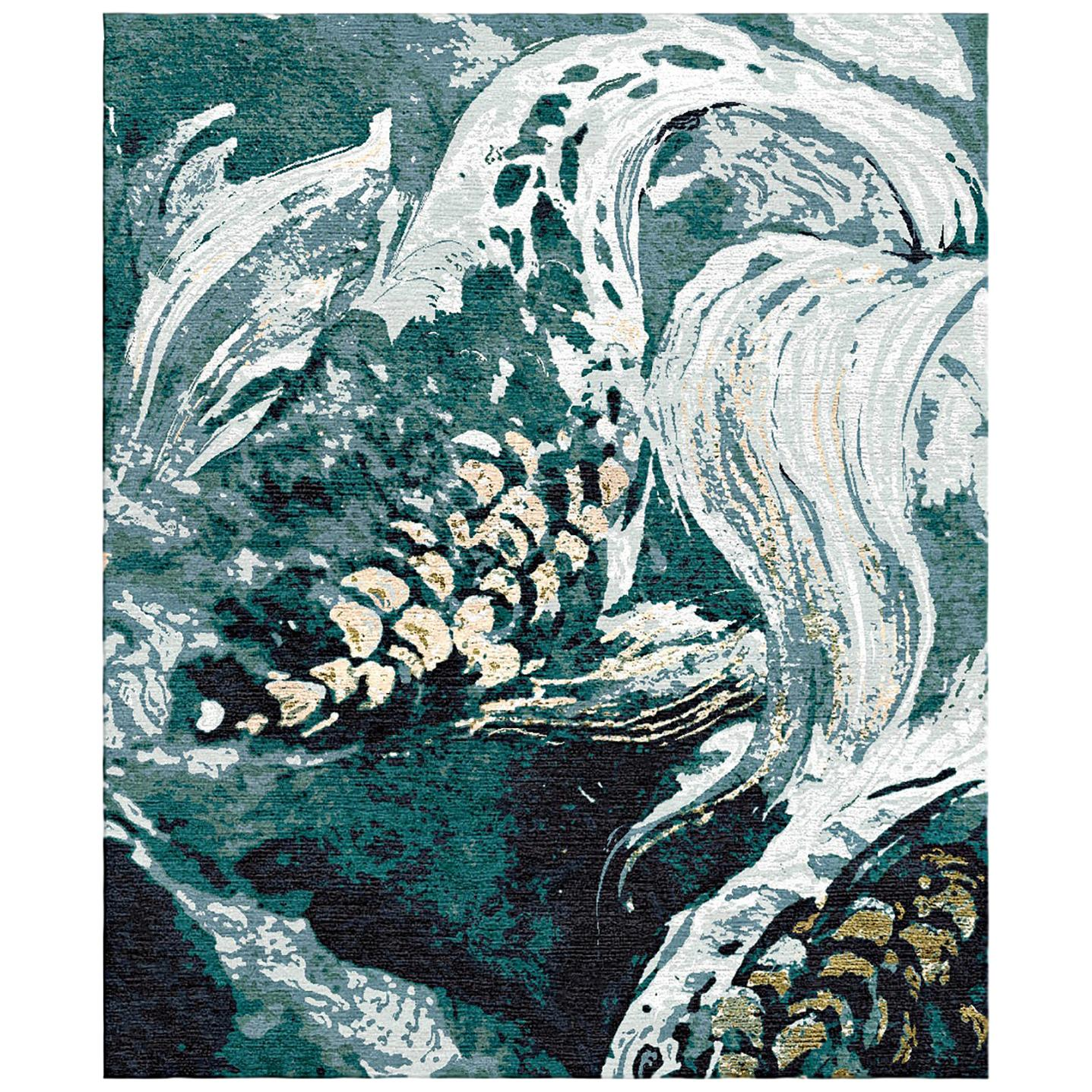 Gold Fish - Animalistic Modern Hand Knotted Wool Silk Rug
