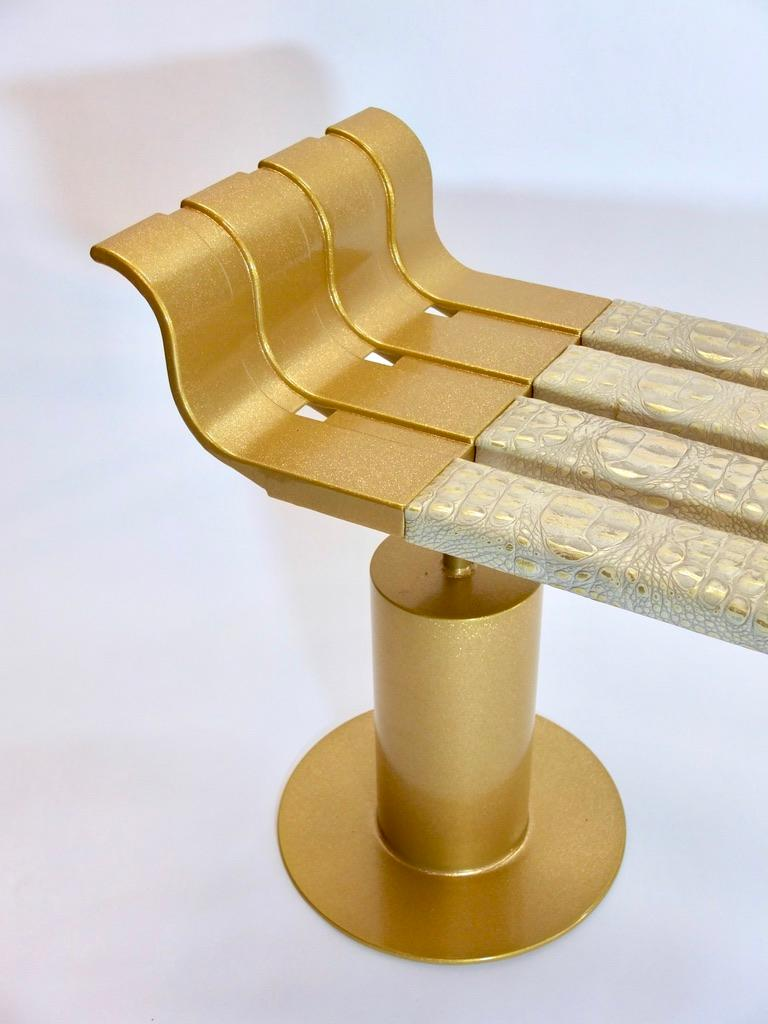 Gold Fleck Metal Bench with Crocodile Gilded Leather Seat For Sale 2