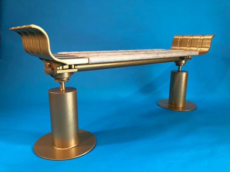 Modern Gold Fleck Metal Bench with Crocodile Gilded Leather Seat For Sale