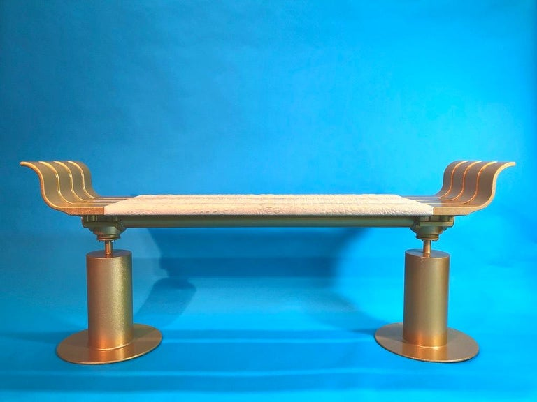 Canadian Gold Fleck Metal Bench with Crocodile Gilded Leather Seat For Sale