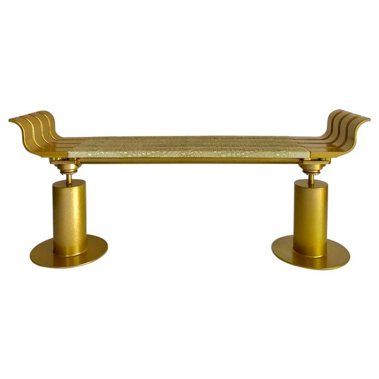 Gold Fleck Metal Bench with Crocodile Gilded Leather Seat For Sale