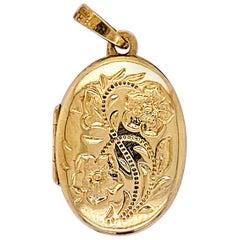 Gold Flower Locket, Vintage Inspired 14 Karat Gold Floral Oval Engraved Necklace