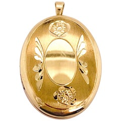 Gold Flower Locket, Vintage Inspired 14K Gold Floral Wing Oval Engraved Necklace